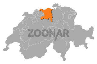 Map of Swizerland, Aargau highlighted