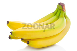 Bunch of ripe banana fruits isolated on white