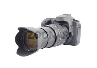 Big photocamera isolated over white