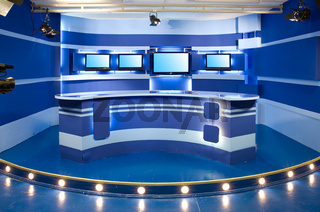 blue television studio