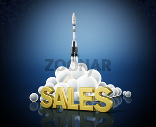Sales text standing in front of a launching rocket. Business and success concept. 3D illustration