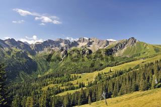 Schafalpenkopf, Hammerspitze und Kanzelwand, Allgäuer Alpen, Bayern, Deutschland, Europa