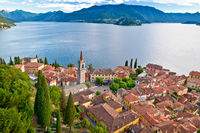 Town of Varenna and Como lake aerial view