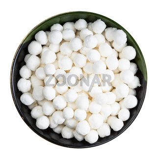 top view of tapioca pearls in round bowl isolated