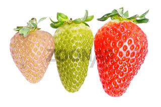 3 different strawberries