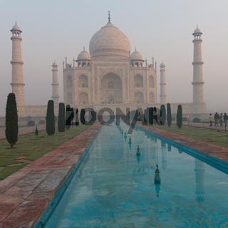Taj Mahal waking up from the morning mist