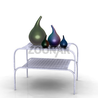 Gefässe auf einem Metalltisch
