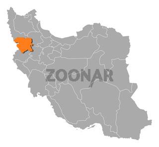 Map of Iran, Kurdistan highlighted