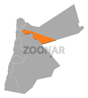 Map of Jordan, Zarqa highlighted