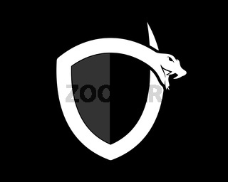 Snake silhouette with shield shape
