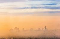 City bridge in fog