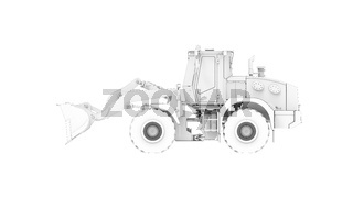 3D rendering of a excavator dozer computer model isolated on white background