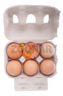 broken egg in a carton box isolated on white background