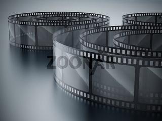 Vintage filmstrip on dark background. 3D illustration