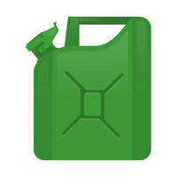 Green Jerry Can Isolated on White Background. Metal Fuel Container. Jerrycan Icon