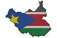 Karte und Fahne von Südsudan auf Filz - Map and flag of South Sudan on felt
