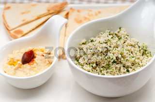 tabouli couscous with hummus