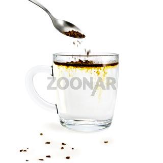 Coffee granulated with a glass mug