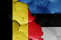 flags of Belgium and Estonia painted on cracked wall