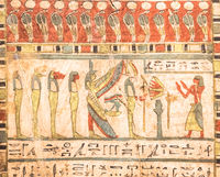 Egyptian archaeology. Ancient hieroglyphyc,  ca. 580 BC, with Isis and the four sons of Horus
