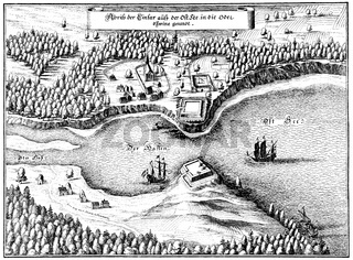 Panoramic view of Swinemünde or Świnoujście, 17th century, Us