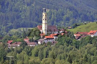 Pfarrkirche St. Nikolaus in Pfronten, Ostallgäu, Allgäu, Schwaben, Bayern, Deutschland, Europa