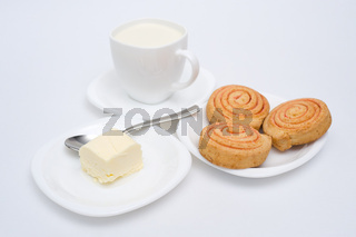 pastry with butter and milk