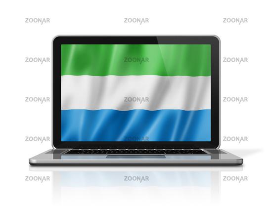 Sierra Leone flag on laptop screen isolated on white. 3D illustration