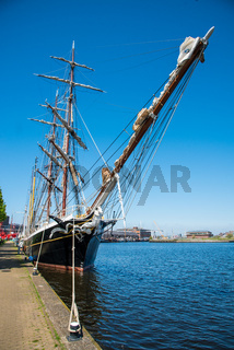 Den Helder, the Netherlands. May 5, 2021. Old clipper moored at the quay of the former shipyard Willemsoord in Den Helder, the netherlands.