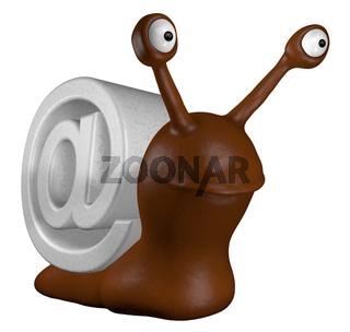 cartoon schnecke mit email-alias - 3d illustration