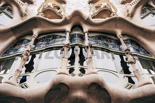 Barcelona, Spain - 15 December 2019: Facade of Casa Batllo - Casa Batllo in Barcelona, Spain.