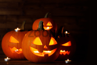 Group of Halloween Pumpkins and candles