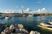 View over the harbor to the old town of Krk on the Adriatic Sea in Croatia