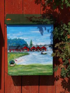 Bemalter Briefkasten auf Aland, Finnland
