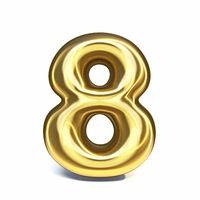 Golden font Number 8 EIGHT 3D