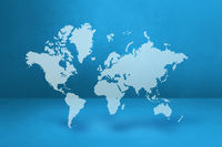 World map on blue wall background. 3D illustration