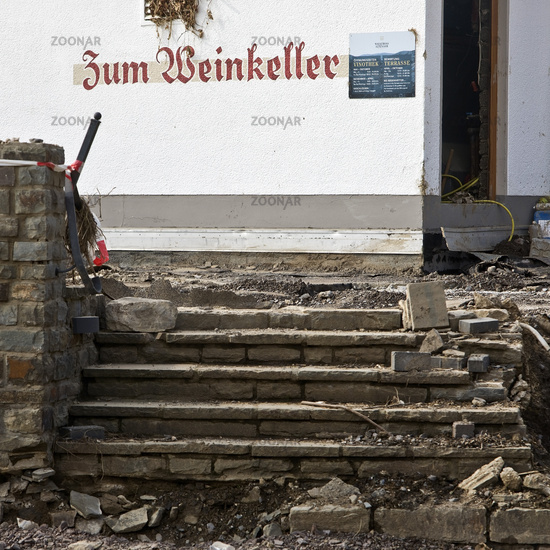 Destruction of the winery on the redwine road, flood disaster 2021, Mayschoss, Germany, Europe