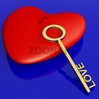 Heart With Key Showing Love Romance And Valentines Day