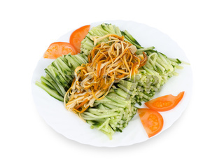 Chinese food. Shredded cucumbers with mushrooms, clipping path.