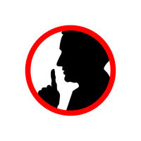 Man face profile with hand, shhh forbidden icon on white, please keep quiet sign
