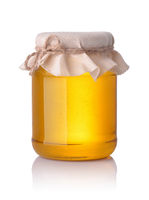 Front view of honey glass jar