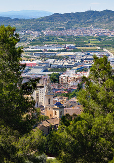 Xativa town against mountains background. Spain