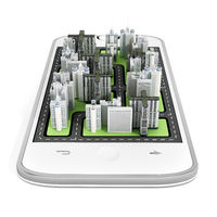 Modern city buildings on the smartphone screen. 3D illustration