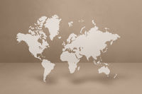 World map on beige wall background. 3D illustration