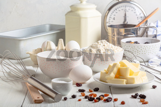 Ingredients and baking tools.