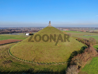 Aerial view of The Lion's Mound with farm land around. Waterloo, Belgium