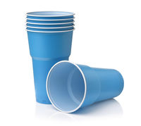 Stack of blue disposable plastic beer cups