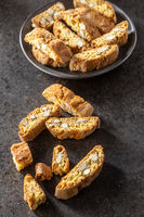 Italian cantuccini cookies. Sweet dried biscuits with almonds.