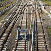 Railroad tracks under the Warschauer Bridge in the center of Berlin