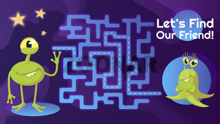 Aliens friend labyrinth with cartoon character template. Cute extraterrestrial find path maze with solution for educational kids game. Childish adventure printable flat vector layout Aliens friend labyrinth with cartoon character template. Cute extraterre